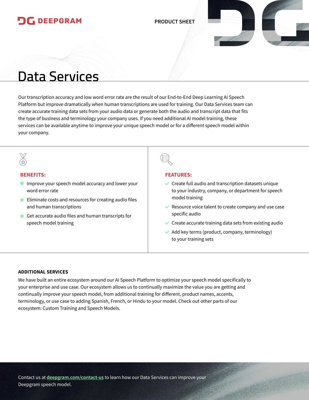 Deepgram-Data Services-Product Sheet