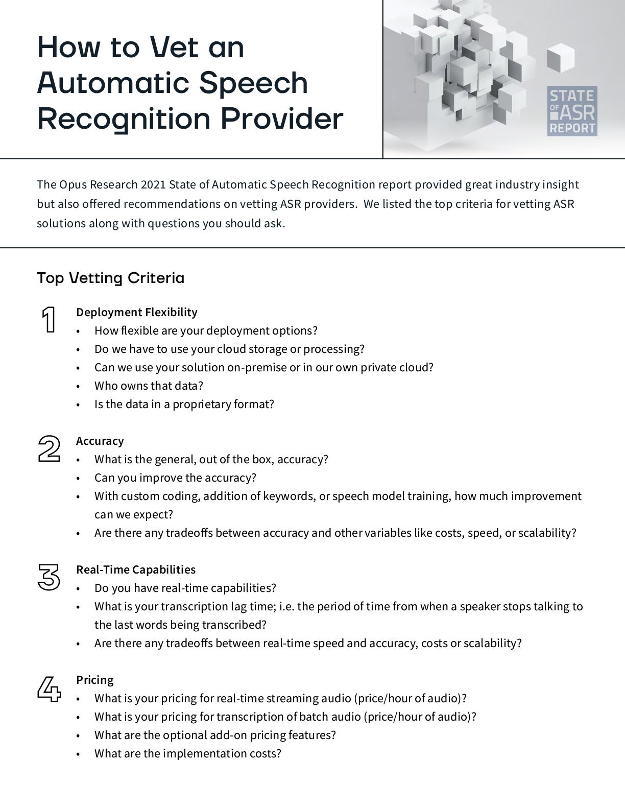 How to Vet an ASR Provider