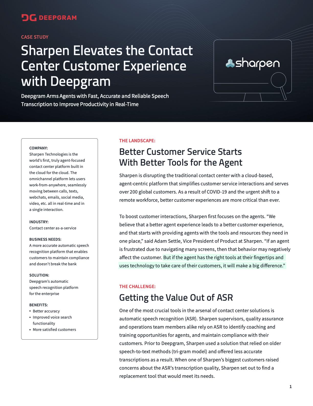 Sharpen - Customer Case Study