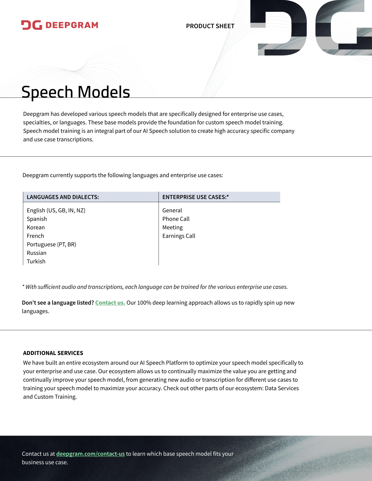 Speech Models Product Sheet